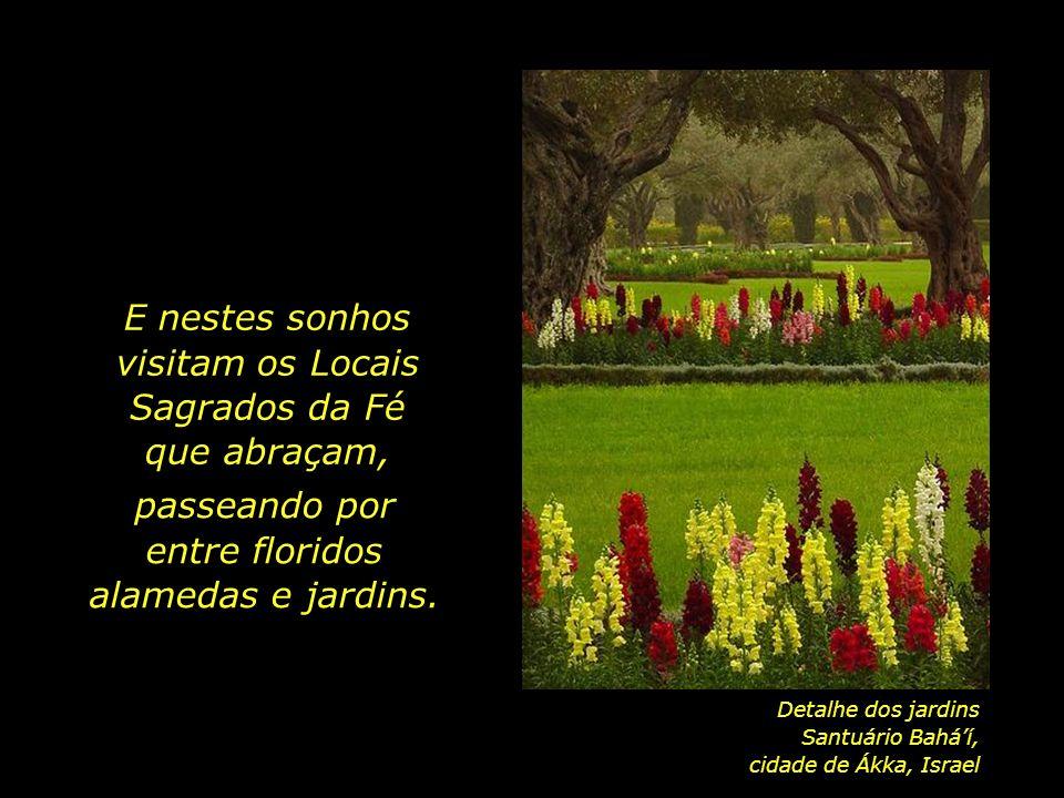 E nestes sonhos visitam os Locais Sagrados da Fé que abraçam,