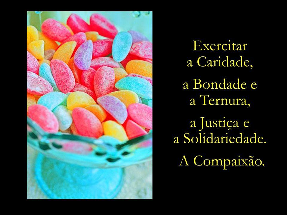 Exercitar a Caridade, a Bondade e a Ternura, a Justiça e a Solidariedade. A Compaixão.
