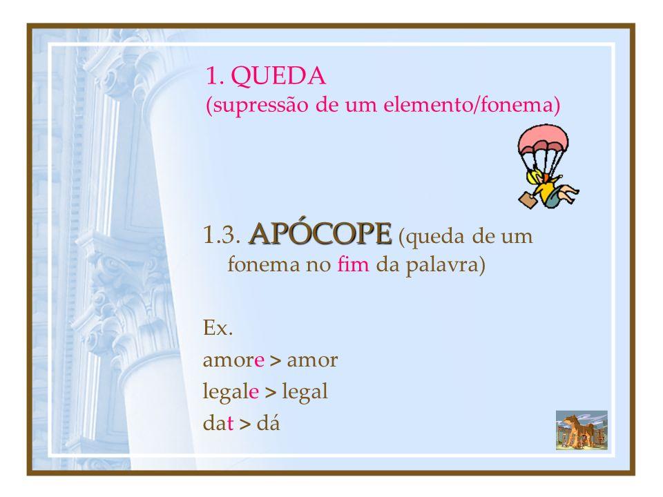 1. QUEDA (supressão de um elemento/fonema)