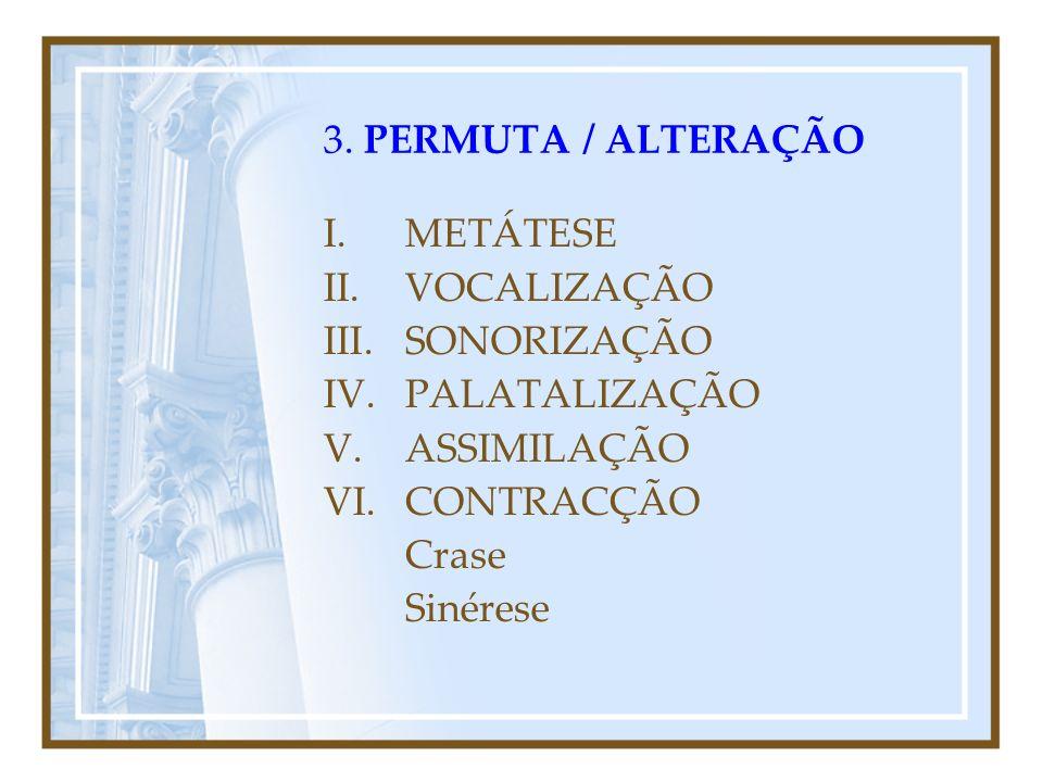 3. PERMUTA / ALTERAÇÃO METÁTESE. VOCALIZAÇÃO. SONORIZAÇÃO. PALATALIZAÇÃO. ASSIMILAÇÃO. CONTRACÇÃO.