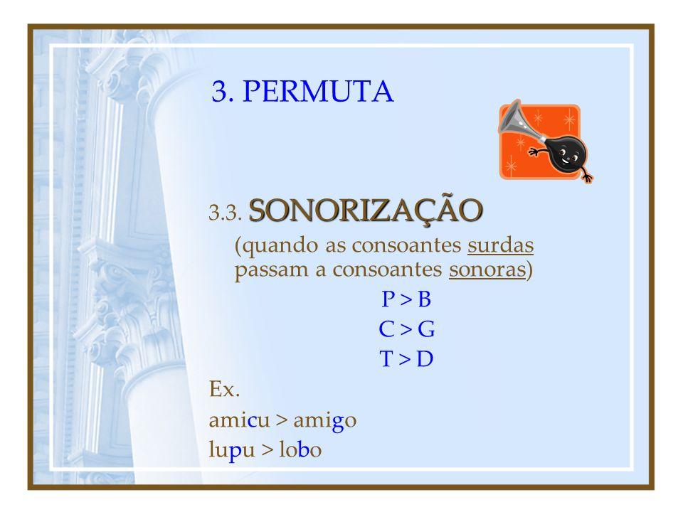 3. PERMUTA 3.3. SONORIZAÇÃO. (quando as consoantes surdas passam a consoantes sonoras) P > B. C > G.