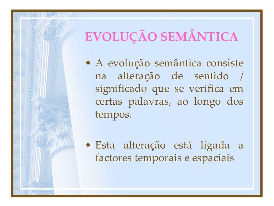 EVOLUÇÃO SEMÂNTICA A evolução semântica consiste na alteração de sentido / significado que se verifica em certas palavras, ao longo dos tempos.