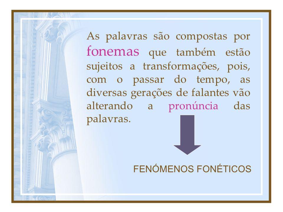 As palavras são compostas por fonemas que também estão sujeitos a transformações, pois, com o passar do tempo, as diversas gerações de falantes vão alterando a pronúncia das palavras.