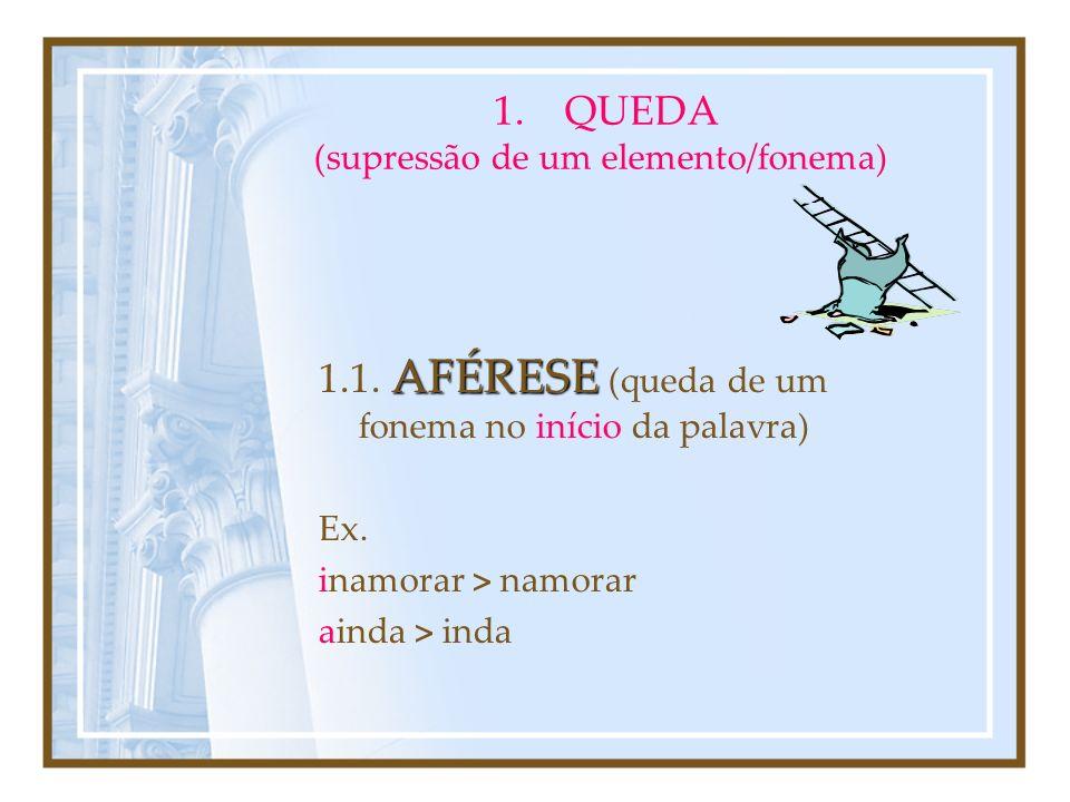QUEDA (supressão de um elemento/fonema)