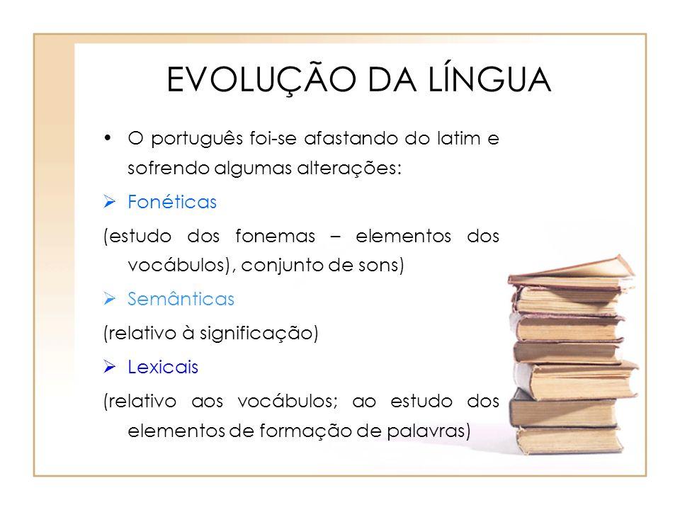 EVOLUÇÃO DA LÍNGUAO português foi-se afastando do latim e sofrendo algumas alterações: Fonéticas.