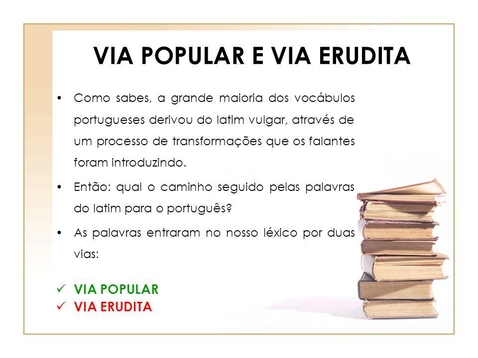 VIA POPULAR E VIA ERUDITA
