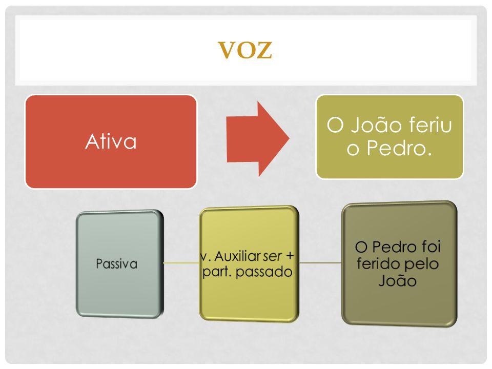 VOZ O Pedro foi ferido pelo João v. Auxiliar ser + part. passado