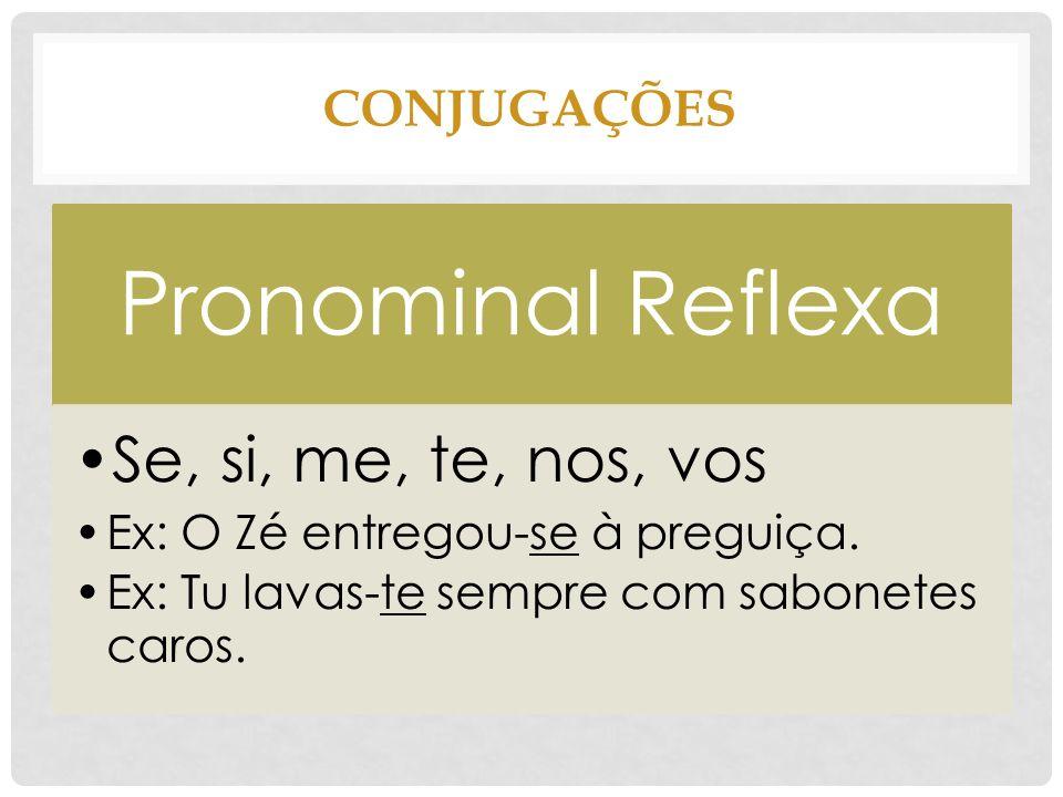 Pronominal Reflexa Se, si, me, te, nos, vos CONJUGAÇÕES