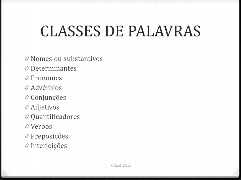 CLASSES DE PALAVRAS Nomes ou substantivos Determinantes Pronomes