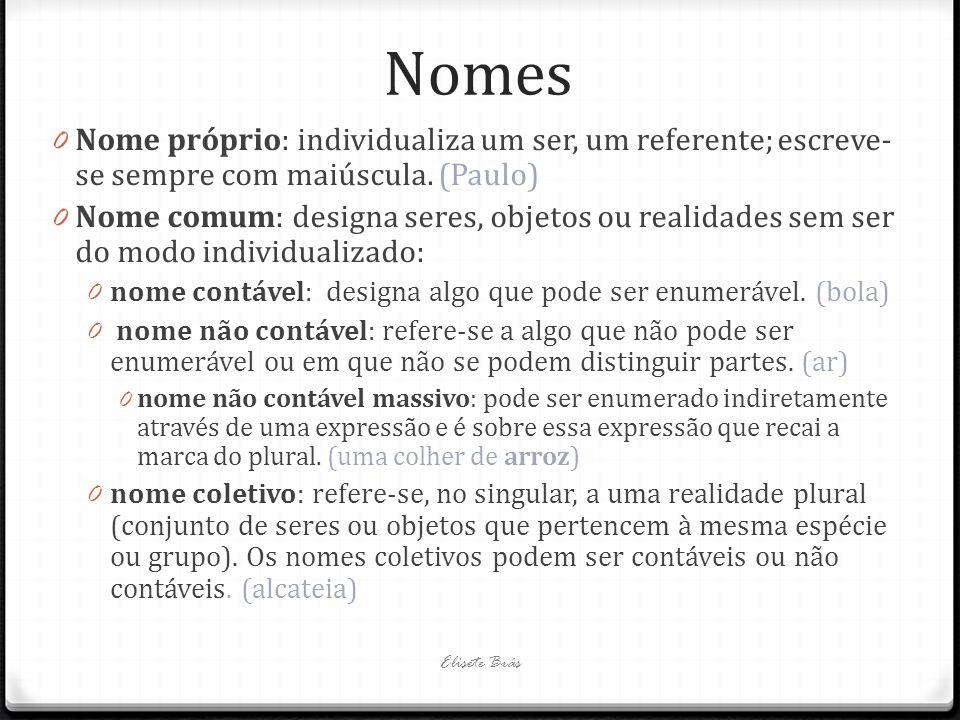 Nomes Nome próprio: individualiza um ser, um referente; escreve-se sempre com maiúscula. (Paulo)