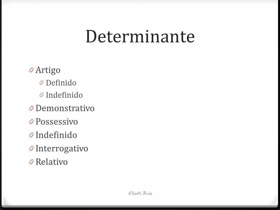 Determinante Artigo Demonstrativo Possessivo Interrogativo Relativo