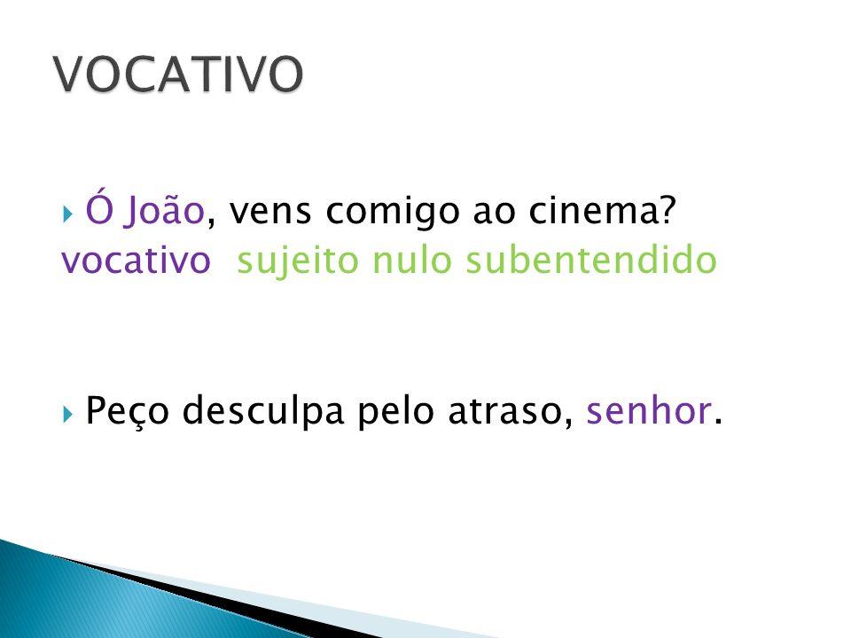 VOCATIVO Ó João, vens comigo ao cinema