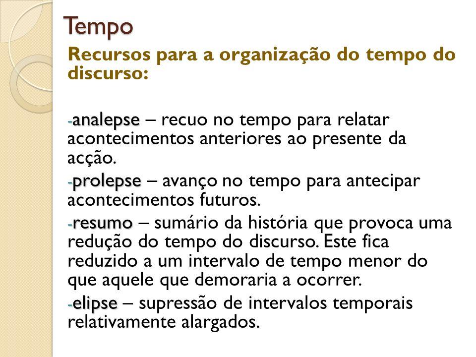 Tempo Recursos para a organização do tempo do discurso: