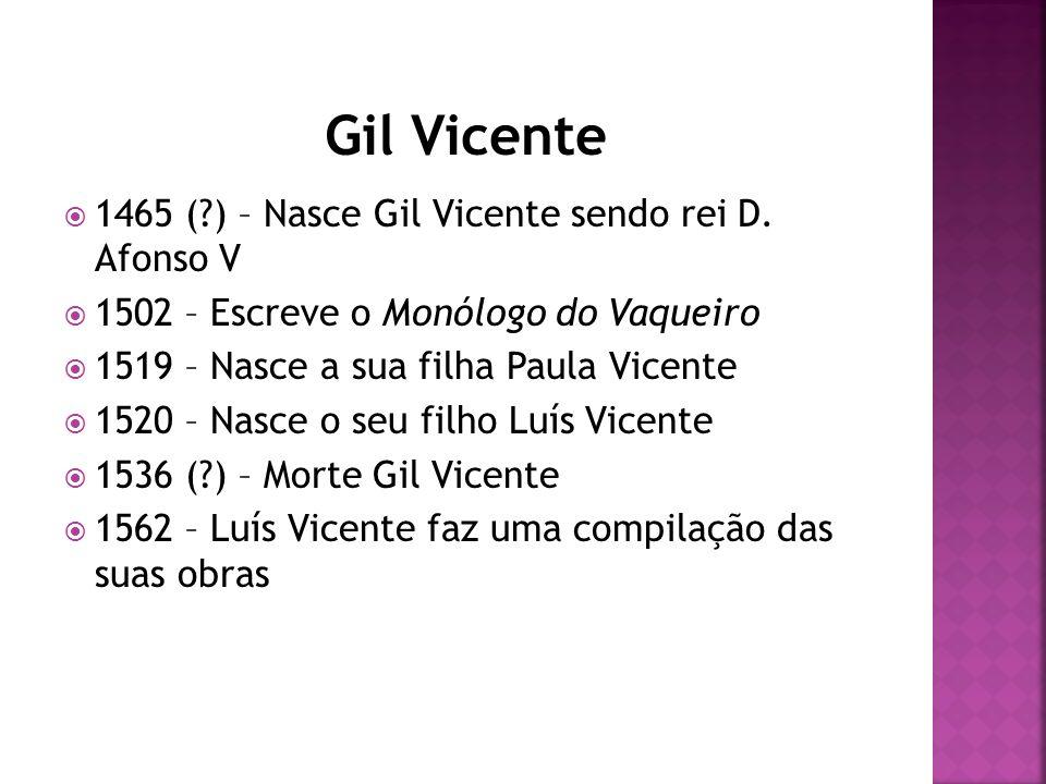 Gil Vicente 1465 ( ) – Nasce Gil Vicente sendo rei D. Afonso V