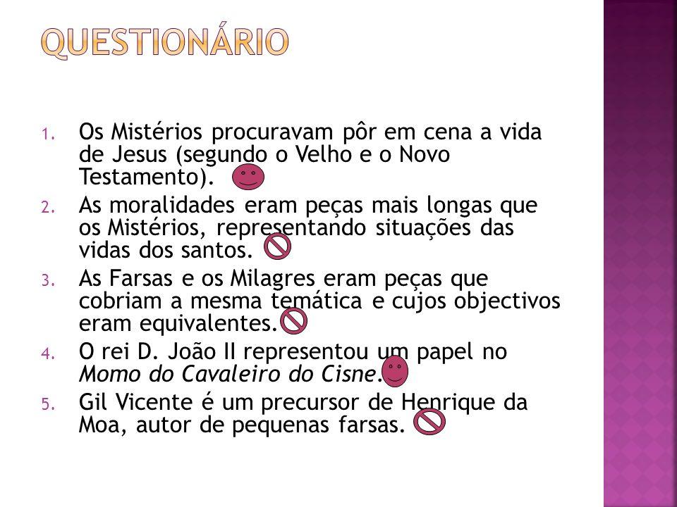 Questionário Os Mistérios procuravam pôr em cena a vida de Jesus (segundo o Velho e o Novo Testamento).