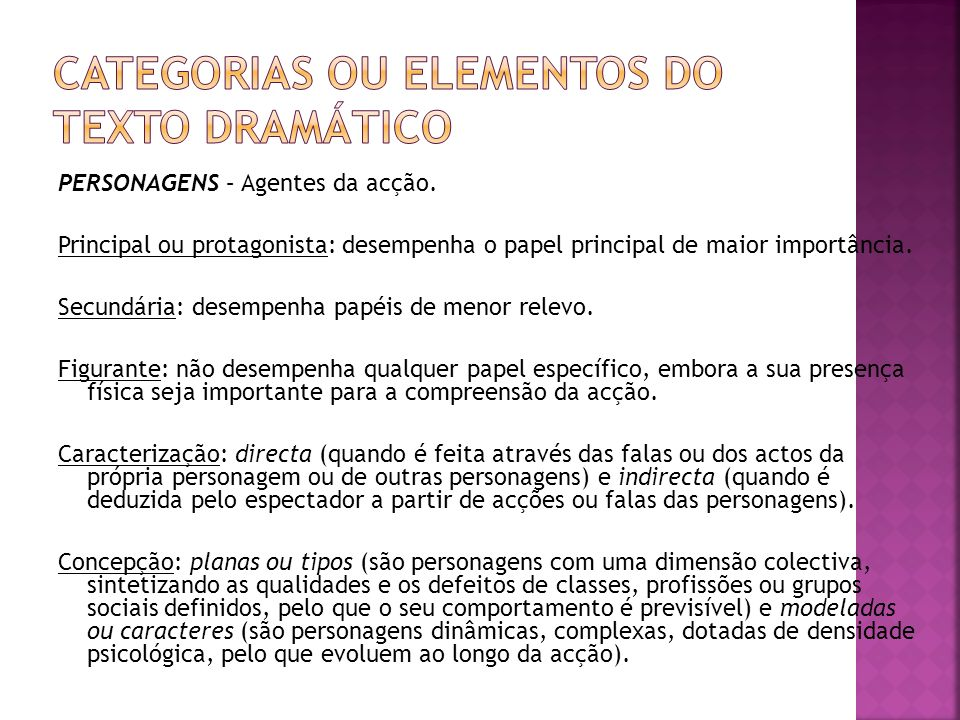 CATEGORIAS OU ELEMENTOS DO TEXTO DRAMÁTICO