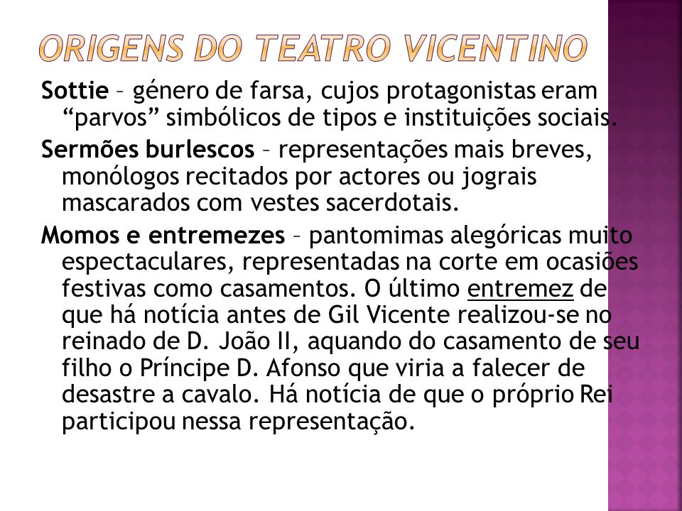 ORIGENS DO TEATRO VICENTINO