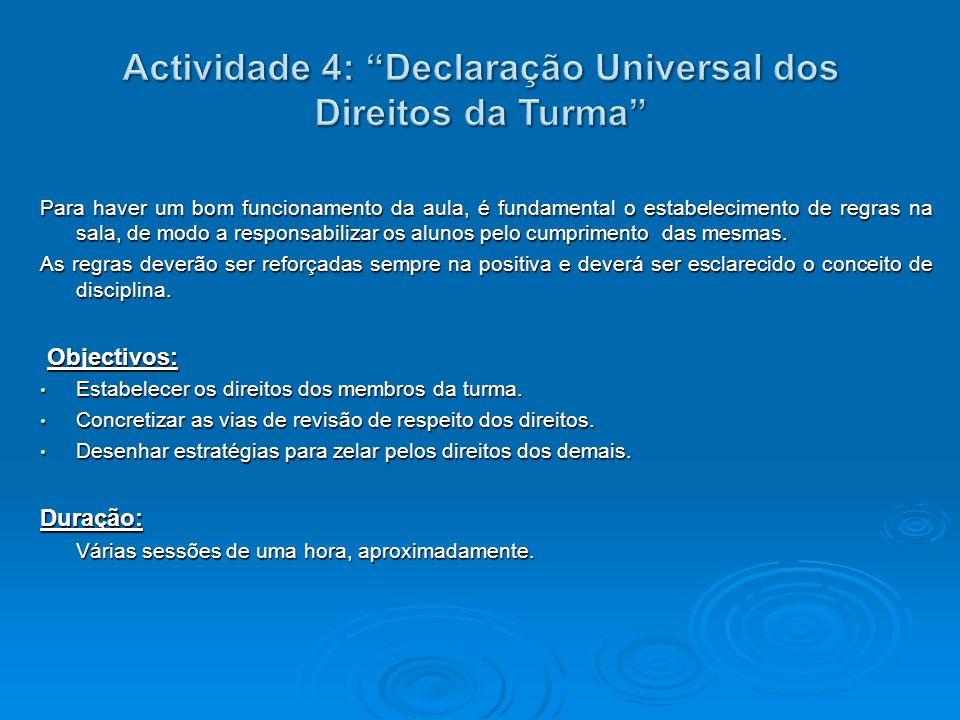 Actividade 4: Declaração Universal dos Direitos da Turma