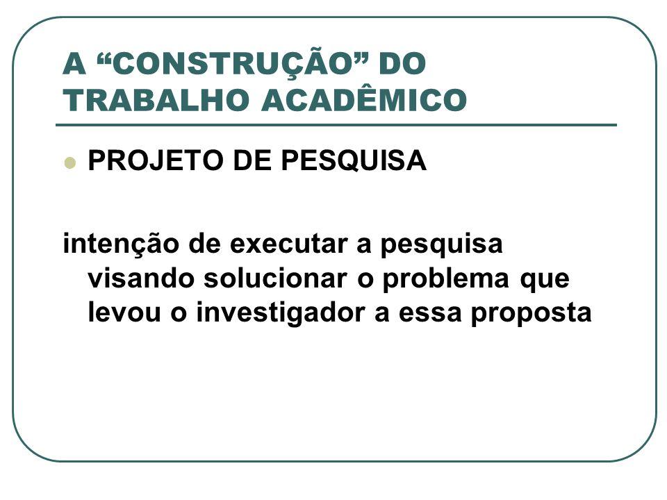 A CONSTRUÇÃO DO TRABALHO ACADÊMICO