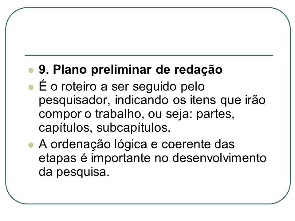 9. Plano preliminar de redação