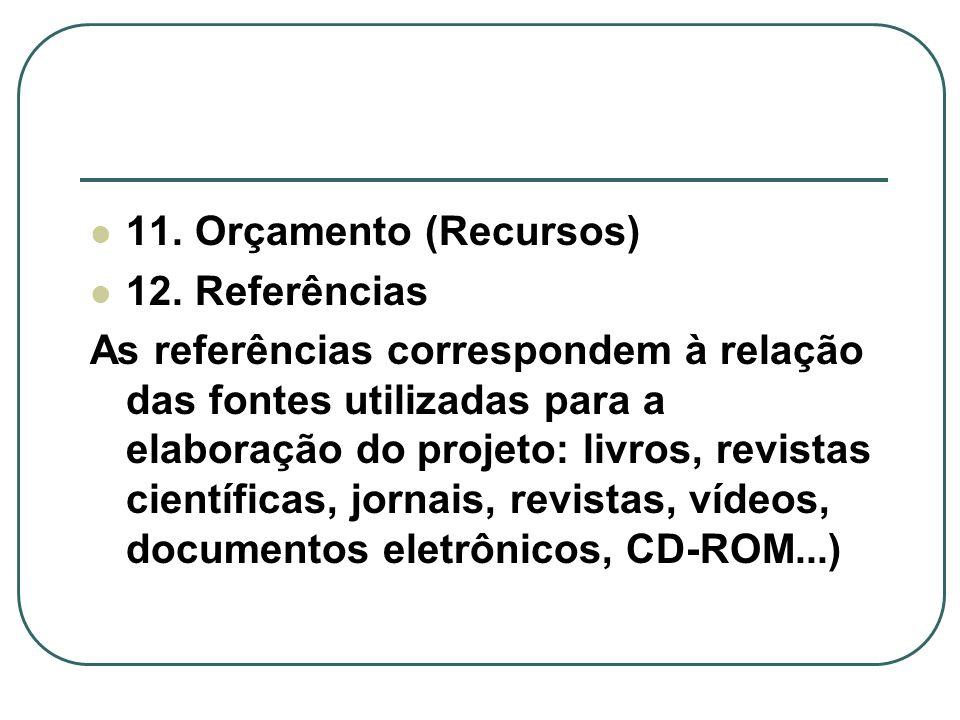 11. Orçamento (Recursos) 12. Referências.