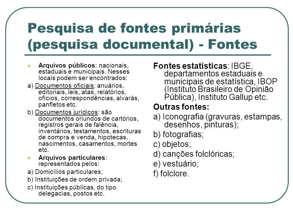 Pesquisa de fontes primárias (pesquisa documental) - Fontes