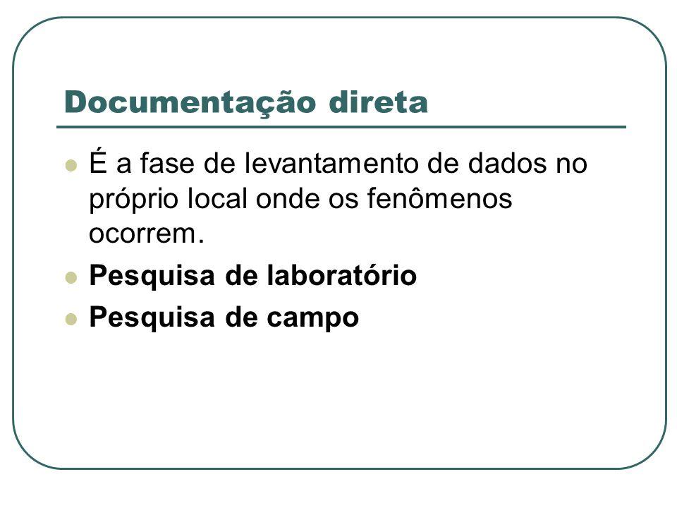 Documentação direta É a fase de levantamento de dados no próprio local onde os fenômenos ocorrem. Pesquisa de laboratório.