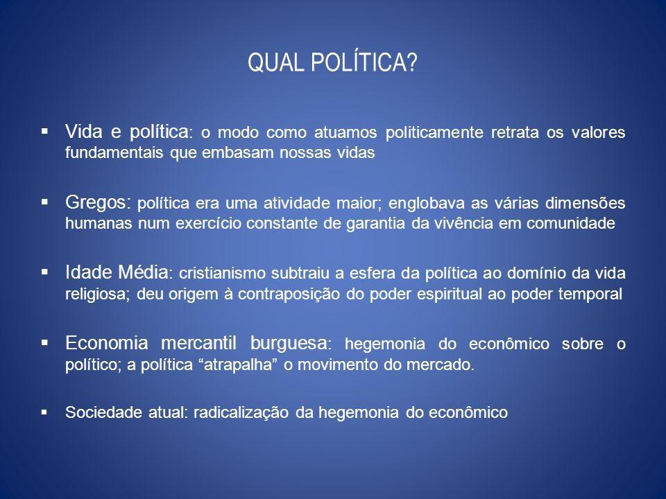 QUAL POLÍTICA Vida e política: o modo como atuamos politicamente retrata os valores fundamentais que embasam nossas vidas.