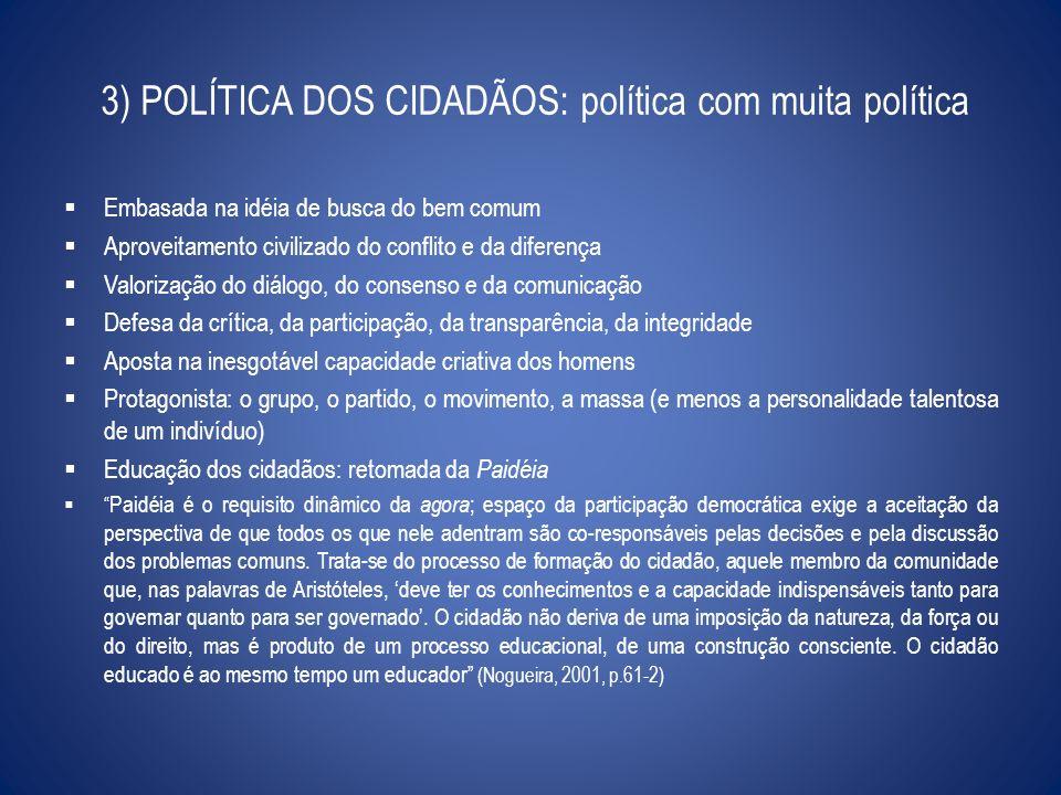 3) POLÍTICA DOS CIDADÃOS: política com muita política