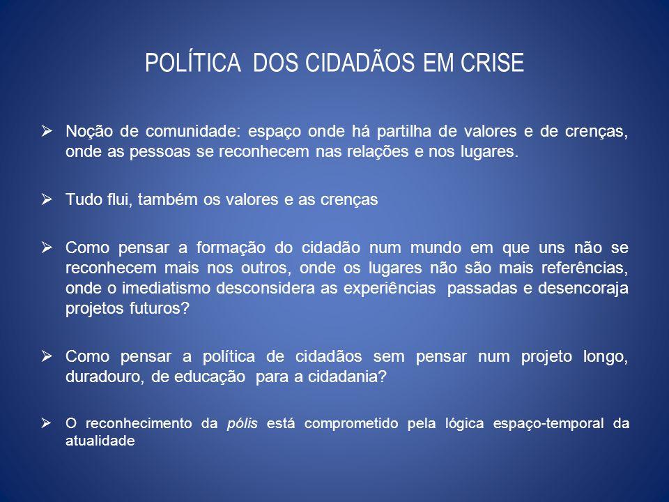 POLÍTICA DOS CIDADÃOS EM CRISE