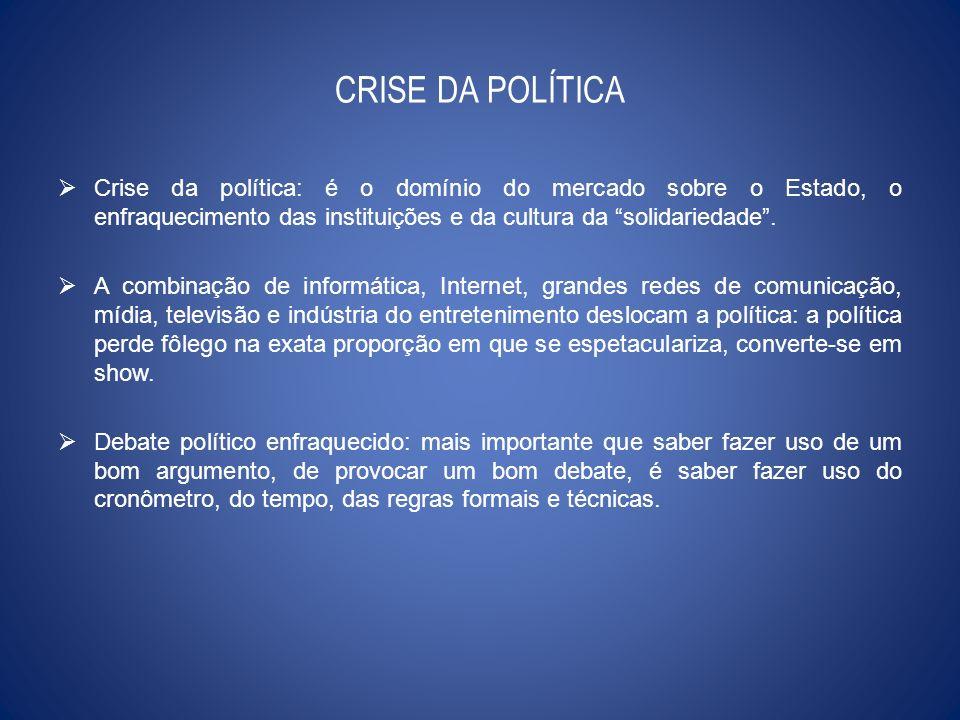 CRISE DA POLÍTICA Crise da política: é o domínio do mercado sobre o Estado, o enfraquecimento das instituições e da cultura da solidariedade .