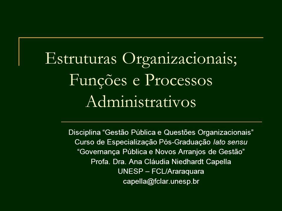 Estruturas Organizacionais; Funções e Processos Administrativos