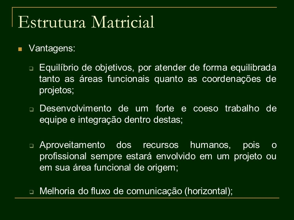 Estrutura Matricial Vantagens: