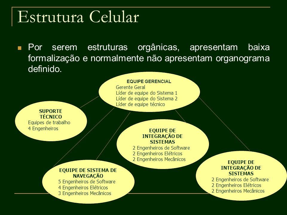 Estrutura Celular Por serem estruturas orgânicas, apresentam baixa formalização e normalmente não apresentam organograma definido.