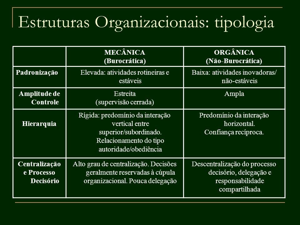 Estruturas Organizacionais: tipologia