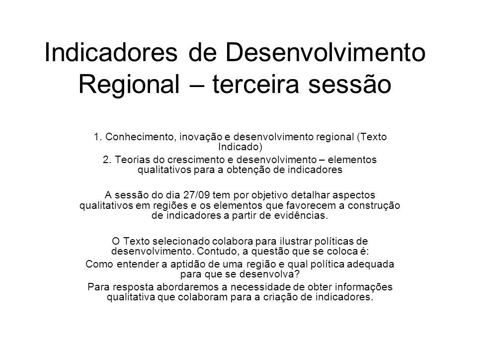 Indicadores de Desenvolvimento Regional – terceira sessão