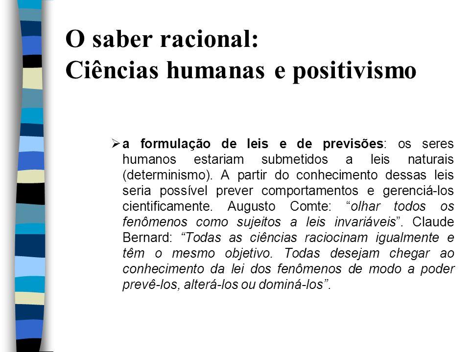 O saber racional: Ciências humanas e positivismo