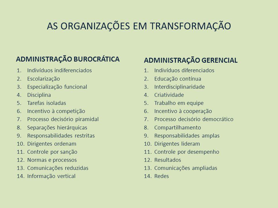 AS ORGANIZAÇÕES EM TRANSFORMAÇÃO