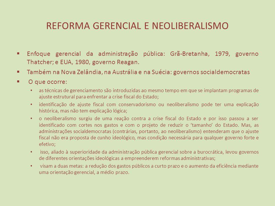 REFORMA GERENCIAL E NEOLIBERALISMO