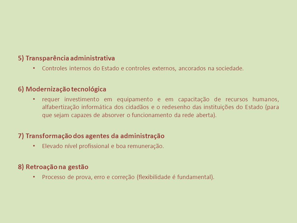5) Transparência administrativa