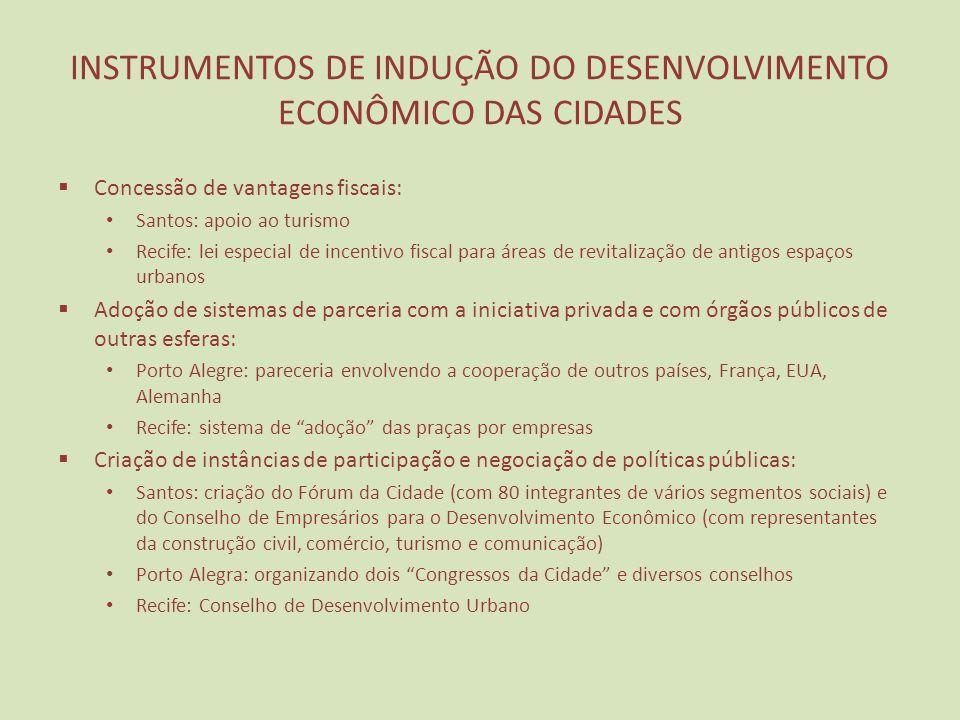 INSTRUMENTOS DE INDUÇÃO DO DESENVOLVIMENTO ECONÔMICO DAS CIDADES