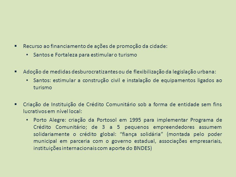 Recurso ao financiamento de ações de promoção da cidade:
