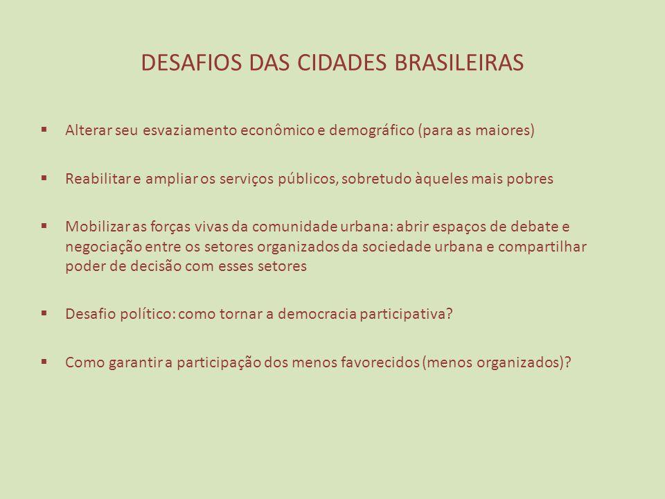 DESAFIOS DAS CIDADES BRASILEIRAS