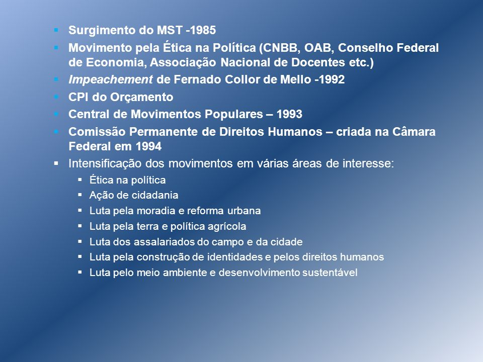 Impeachement de Fernado Collor de Mello -1992 CPI do Orçamento
