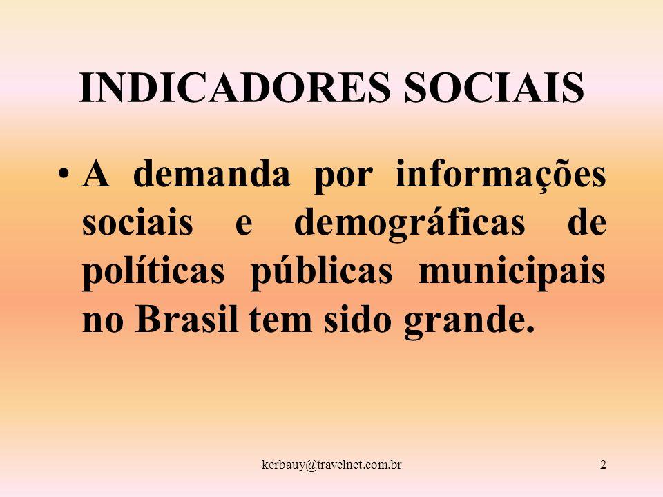INDICADORES SOCIAIS A demanda por informações sociais e demográficas de políticas públicas municipais no Brasil tem sido grande.