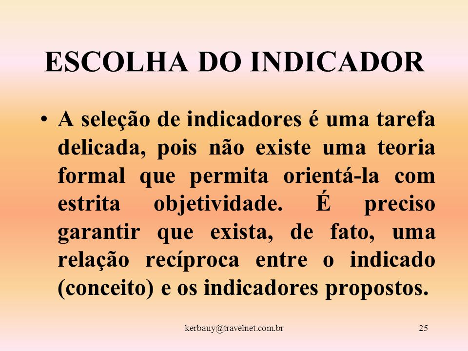 ESCOLHA DO INDICADOR