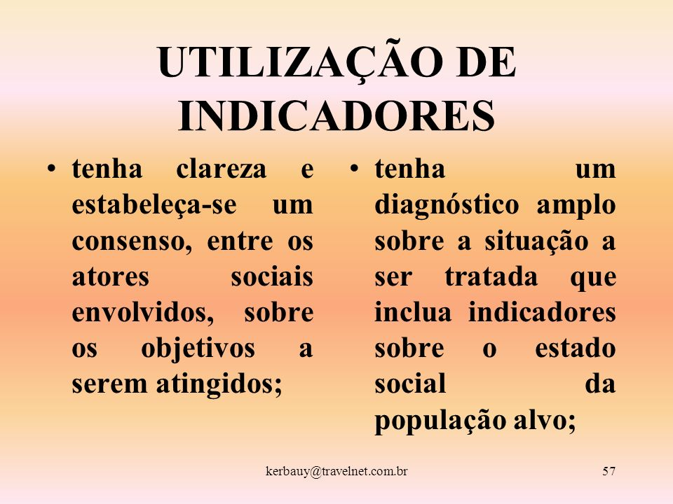 UTILIZAÇÃO DE INDICADORES