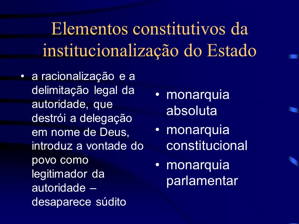 Elementos constitutivos da institucionalização do Estado