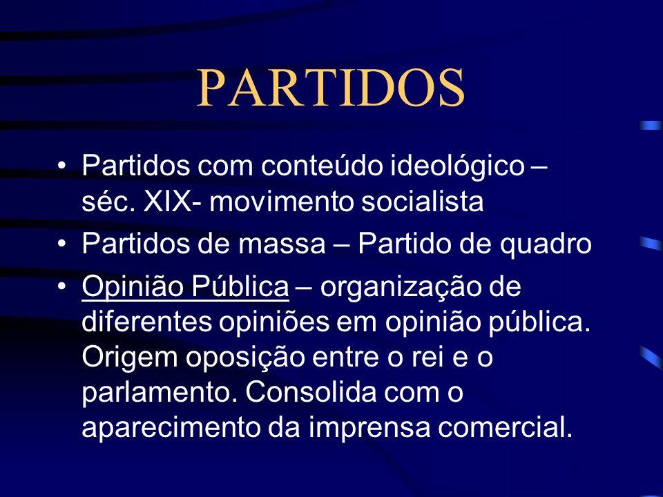 PARTIDOS Partidos com conteúdo ideológico – séc. XIX- movimento socialista. Partidos de massa – Partido de quadro.
