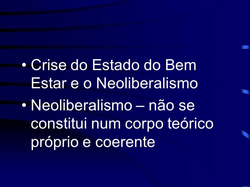 Crise do Estado do Bem Estar e o Neoliberalismo